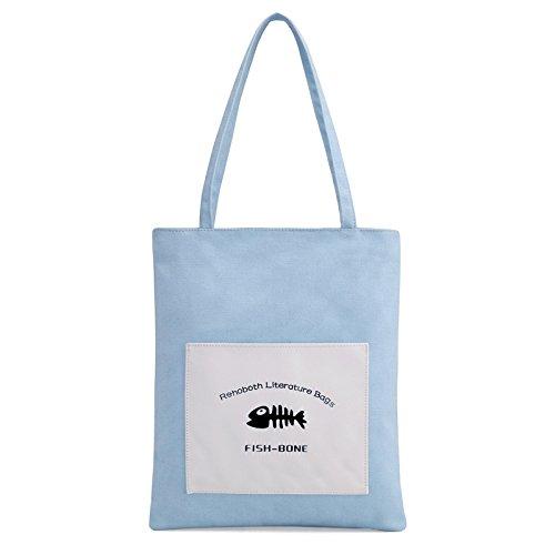 lkklily-ladies Handtasche Leinwand Tasche Damen Pure Fresh Art Fan Tasche Tasche himmelblau