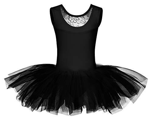 tanzmuster Kinder Ballett Tutu Lottie aus weicher Baumwolle mit Breiten Trägern und Spitzeneinsatz vorn in schwarz, Größe:128/134
