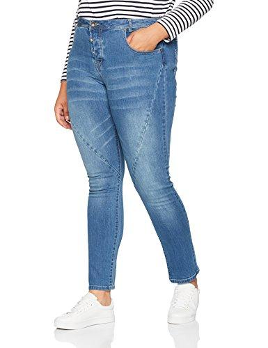 Ulla Popken Große Größen Damen Skinny Jeans Jeanshose mit Modischen Nähten Blau (Bleached 92), 52 Plus Size Skinny Jeans Groß