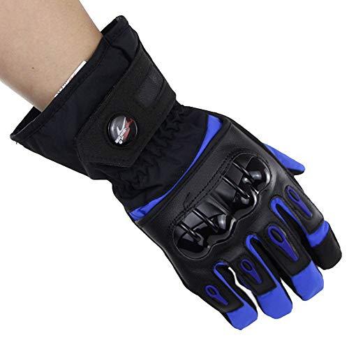 Tyld Warme und kalte Motorradhandschuhe mit verstellbarem Klettverschluss, elastische, Winddichte und wasserdichte Outdoor-Handschuhe für den Winter,Blue,L -