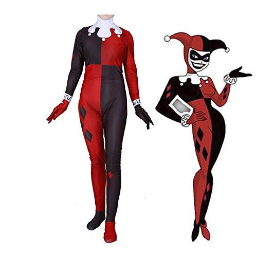 MAKAFJ Frau Super Villain Clown Weiblich Harry Quinn Cosplay Kostüm Jumpsuit Erwachsene Halloween Party Kostüm Comic Version,Harry Quinn- ()