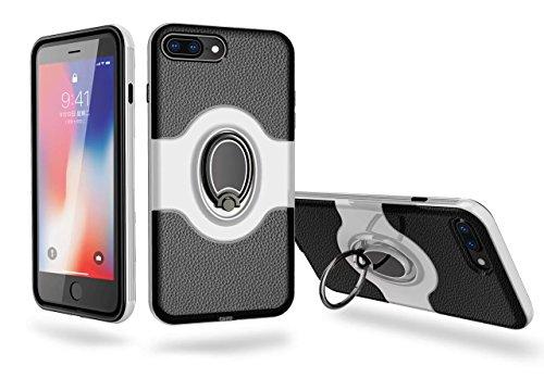 cover iPhone 7/8 Silicone Blu+Nero Soft cover TPU+Hard PC telaio paraurti Strisce Modello Litchi Assorbimento magnetico anello supporto case DECHYI Bianco+Nero
