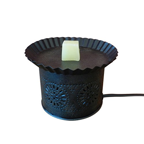 CVHOMEDECO. Grungy schwarz Metall Dose Stanzteile fertig Mini Schmelzen Wachs Duftlampe Country Primitiv Home Dekoration (Birne Primitive)