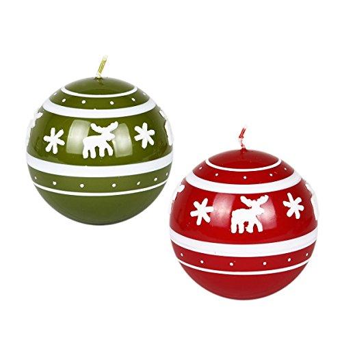 Velas Navidad velas diseño de reno de Navidad Juego De 2Verde Rojo Bola velas