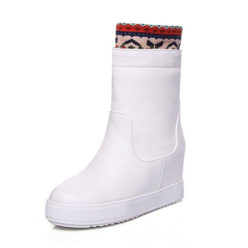 AgooLar Damen Mitte-Spitze Gemischte Farbe Rund Zehe Hoher Absatz Stiefel, Weiß, 35