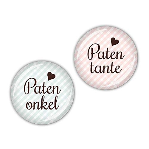 lijelove® 2er Buttonset 25mm Ø Vichy Patentante & Patenonkel (Art. 04-01RS)