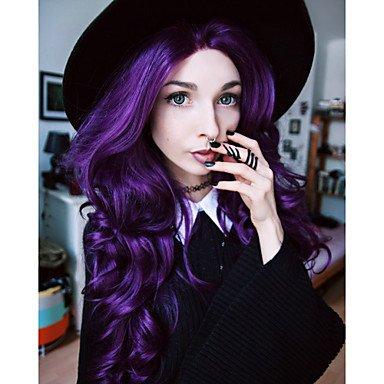 Frauen Synthetische Perücken Lace Front Long natur Wave violett natürlich Perücken Kostüm Perücken