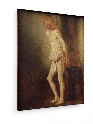 Rembrandt - Christus an der Geißelsäule - Malerei - 30x40 cm - Textil-Leinwandbild auf Keilrahmen - Wand-Bild - Kunst, Gemälde, Foto, Bild auf Leinwand - Alte Meister/Museum
