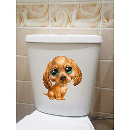 CJJCJJ Wandaufkleber Handbemalte niedlichen Cartoon braun Hund Kinderzimmer Wand WC-Sitz Aufkleber Abziehbilder Mode (Braun-wand-abziehbilder)