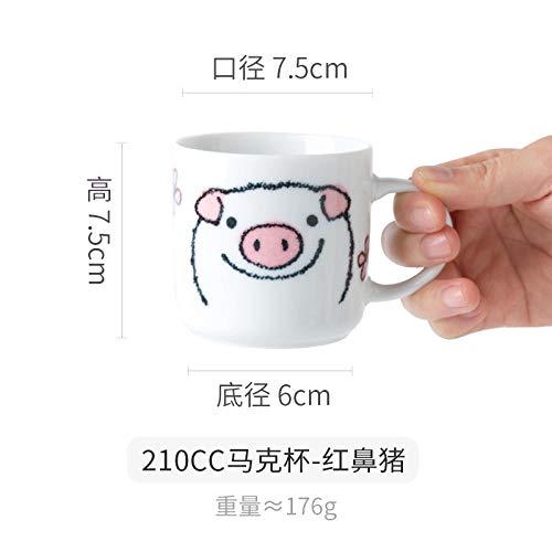 Niedliche Milch Tasse Cartoon Keramik Becher Tee Tasse - Red Nose Pig 210Ml - Red Melamin Kaffee Becher