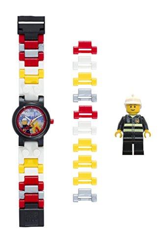 LEGO City 8020011 Feuerwehrmann Kinder-Armbanduhr mit Minifigur und Gliederarmband zum Zusammenbauen , rot/gelb , Kunststoff , Gehäusedurchmesser 25 mm , analoge Quarzuhr , Junge/ Mädchen , offiziell