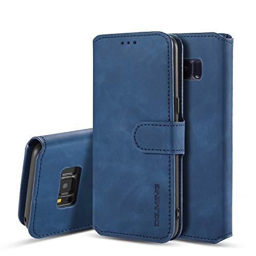 UEEBAI Handyhülle für Samsung Galaxy S7, Hülle Retro Premium PU Leder Weich TPU Klapphülle [Magnetverschluss] Kartenfach Standfunktion Anti Kratzern Flip Wallet Trageband Schutzhülle - Blau
