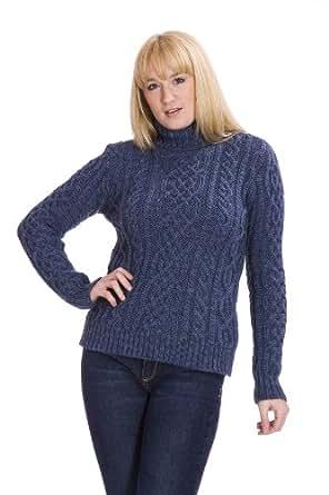 Green Womens Aran Jumper Sweater - 100% British Wool (Large)