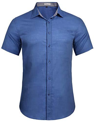 Sykooria Hemd Herren Baumwolle Kurzarm Business Freizeit Reine Farbe Leicht Button Down Büro Männer Hemden Blau S -