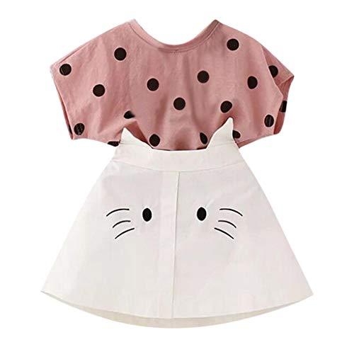 Xshuai Kleinkind Kind Baby Mädchen Outfits Kleidung Dot Print T-Shirt + Katze Stickerei Rock Set (2-3 Jahre, Rosa)