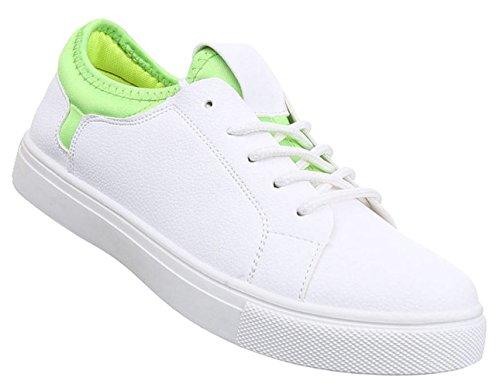 Damen Sneaker Schuhe Freizeitschuhe Low-top Halbschuhe Weiß Grün 37