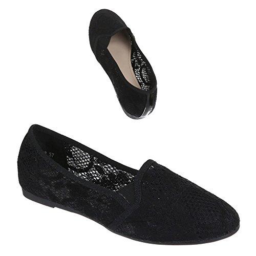 Damen Schuhe, DO-23, HALBSCHUHE LEICHTE BALLERINAS Schwarz