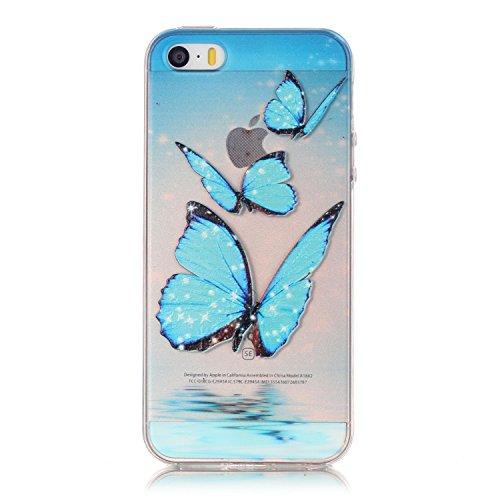 Aeeque® Souple Coque pour iPhone 5S 5 SE, Ultra Slim MinceThin Flexible Caoutchouc TPU Silicone élégant Bleu Fleur Blanche Dessin Case Cover Etui de protection Housse Bumper Motif #7