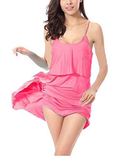 Donna Vestito Colore Puro Senza Maniche Vestito Dalla Spiaggia Abito Corto Pesco Rosso