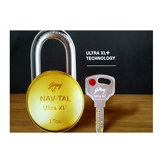 GODREJ Navtal Ultra XLwith 8 Levers Brass Padlock, Golden (4 Keys)
