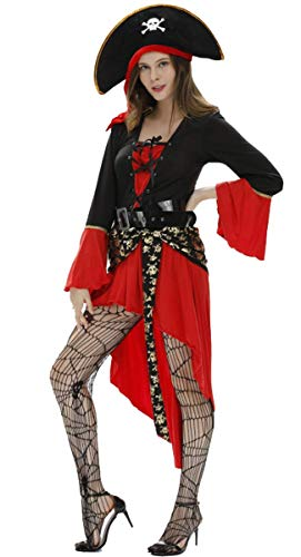 Für Kostüm Piraten Erwachsene Lady Sexy - EMIN Erwachsener Piraten Kostüm Damen Sexy Gothic Kleid Piraten Kostüm Kleid mit Gürtel und Hut Piraten-Lady Fluch der Karibik Captain Jack Kostüm Halloween Cosplay Karnavel Faschingkostüm Verkleidung