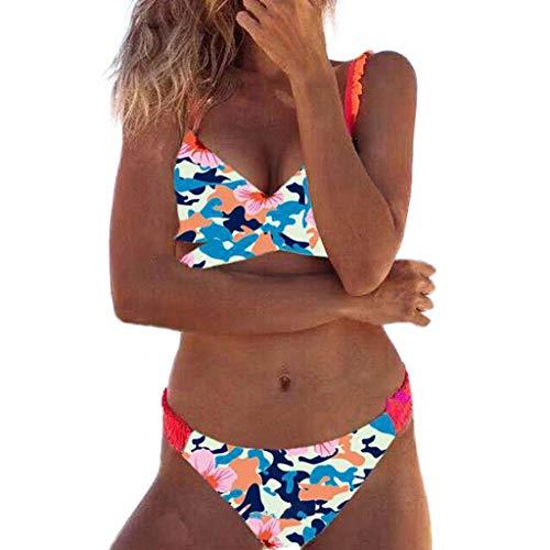 Ears Frauen Bikini Set Sommer Damen Sexy Bademode Push-Up Gepolsterte Rüschen Print BH Beachwear BH Pareos Strandkleider Badeshorts Tankinis Slip Unterwäsche Dessous Split Badeanzug