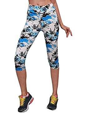 Pantalones Mujer, ASHOP Recortado Pantalones Vaqueros Ocio Estilo Jeans Boho de Impreso Cintura de Cordón Pantalón...