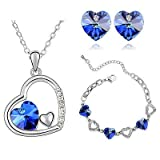 Royal Blau Kristall Herzen Schmuck-Set Ohrstecker Halskette & Armband S453