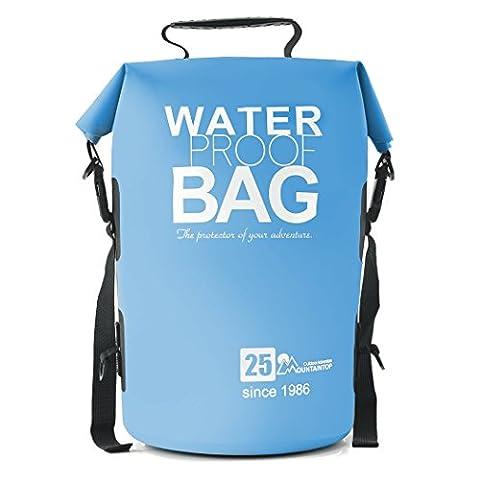 Mountaintop Trockentasche 25L - Wasserdichte Taschen, ideal für Bootfahren / Kajakfahren / Angeln / Rafting / Schwimmen / Schwimmende / Camping - Schützt Telefon / Kamera / Kleidung / Dokumente von Wasser, Sand, Staub und Schmutz