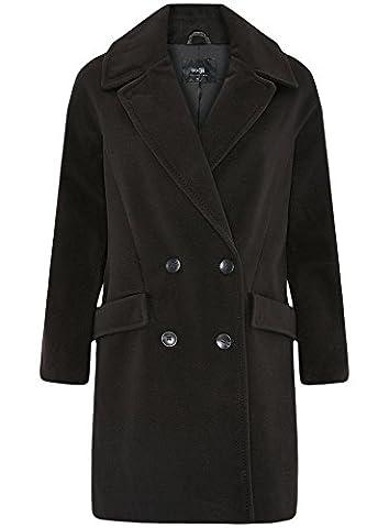 oodji Collection Femme Manteau Coupe Ample à Deux Rangées de Boutons, Noir, FR 38 / S