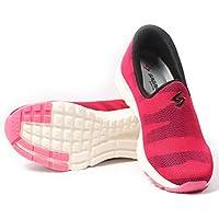 SAGMA Women's Breathable Baby Pink-Black Casual Slipon Shoes (Size: UK/India 8)