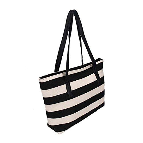 Kangrunmy Borse a Tracolla Fashion Big Strisce Plaid Ladies Handbags Women Bag Frizioni Nero