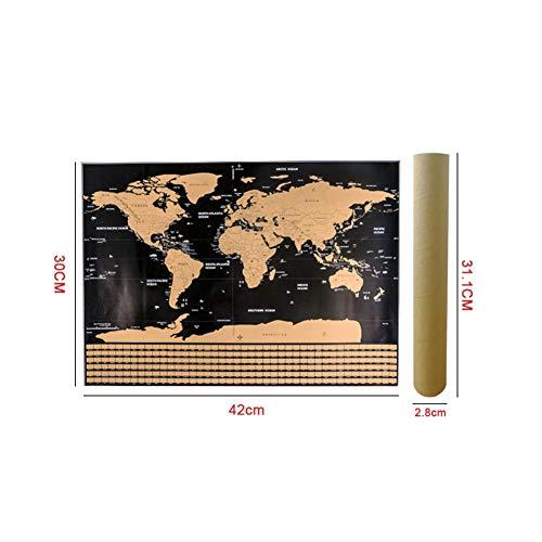 Leezo - Póster mapa mundo rascar banderas campo S