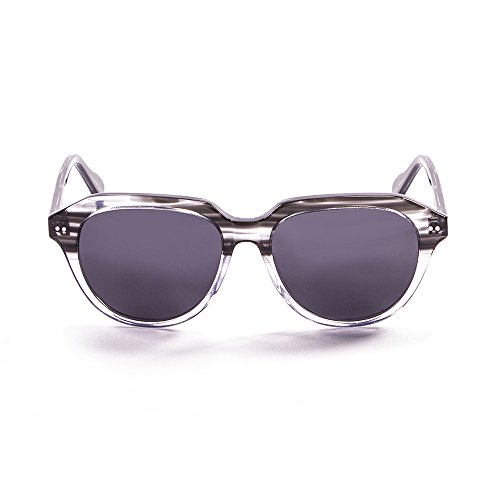 OCEAN SUNGLASSES Mavericks Lunettes de Soleil Mixte Adulte, Demy Black/White Transparent Down/Smoke Lens