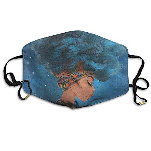 Daawqee Staubschutzmasken, Unisex African American Afro Women Blue Hair Anti Dust Lip Mask Mouth Face Mask