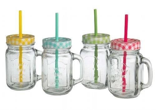 Trinkgläser mit Henkel mit Deckel und Trinkhalm 4 Gläser Set a 0,5l - Marke: flirt