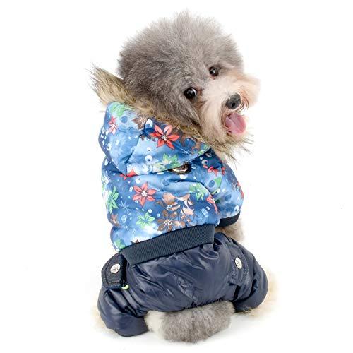 Ranphy Kleiner Hund Floral Schneeanzug Pet Winter Fleece gefüttert Fell Wasserabweisend Puppy Hoodie Warm Parka Baumwollbett kaltem Wetter Overall Katze Kleidung Mädchen Jungen -