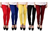#5: Rudraksha Leggings Women's Cotton Lycra Leggings (Multicolour, Free Size)-Pack Of 5