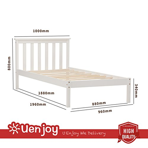 UEnjoy 3FT White Single Bed Wooden Bed Frame Pinewood