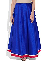 Very Me Women's Designer Blue Faux Silk Solid Plain Skirt