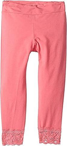 Splendid Little Girls' Seasonal Basic Legging with Lace Bottom, Pink, 4/5