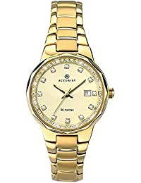 Accurist Women's Quartz Watch with Gold Dial Analogue Display and Gold Plated Stainless Steel Bracelet 8015.01