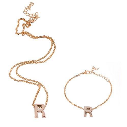 MagiDeal Lettera ''R'' Dell'alfabeto Ciondola Catena Collana Pendente con Braccialetto In Oro Set per Unisex Regalo