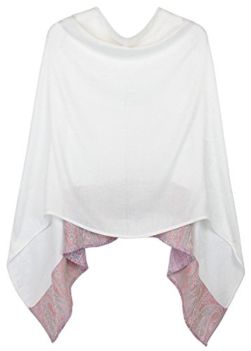 Eleganter Poncho / Cape für Damen weich, leicht, chic - Poncho Damen - WJ036 (WJ036-Weiß)