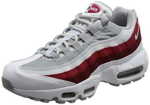 Nike Air Max 95 Essential, Chaussures de Running Homme, Multicolore (White/Wolf Grey/Pure Platinum/Team Red), 44 EU