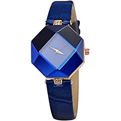 Contever® Women Fashion Rhombus Case Analog Quartz Watch with Rhinestone Decorative PU Leather Band Wrist Watch -- Blue