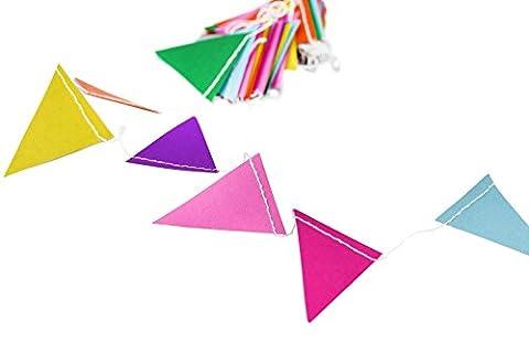 FiveSeasonStuff Hanging Paper Garlands, Perfect Decorations for Wedding, Baby Shower, Birthday, Anniversary, Party, Festival, Home, Garden, Nursery, Bedroom, Shop, Restaurant, School, Office, Stage, DIY (Triangle, Multicolour,