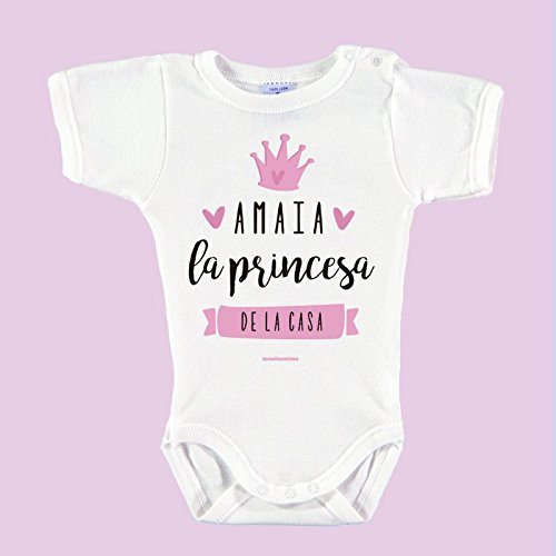 """Body Bebé Personalizado con Nombre 100% Algodón Orgánico""""Soy la princesa de la casa"""" (6 meses, Rosa)"""