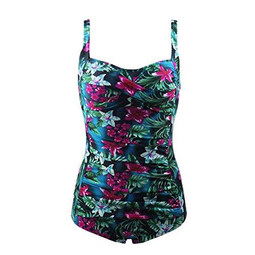 FDJLK537 Damen Printed Swim Top Schwarze Shorts 1 Stück Blouson Tankini SST, Large Size S-4XL,Green,L (Blouson 1 Stück)