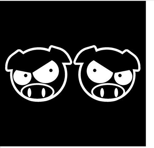 11,3 cm * 9,1 cm Böse Rallye Schweine Cartoon Rückspiegel Aufkleber Aufkleber Schwarz/Silber/3PCS (In Schweine Halloween Decken,)
